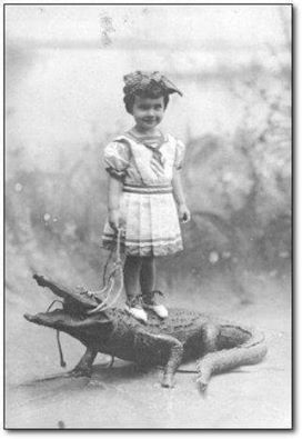 Little girl on crocodile